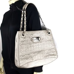 Nicole Miller Shimmer Silver Quilted Bag Purse